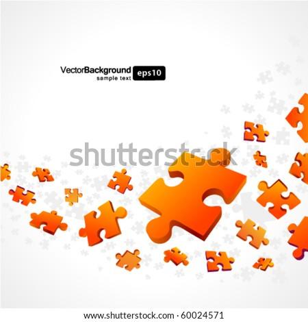3d orange puzzle piece vector background - stock vector