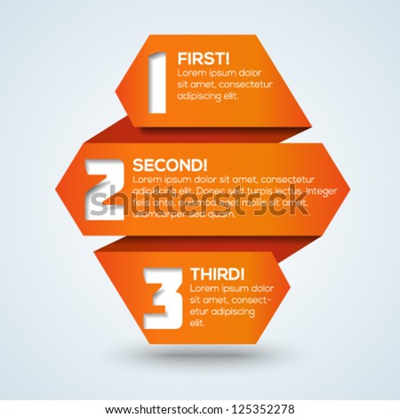 3d origami progress template with steps and place for your text. Vector illustration. - stock vector