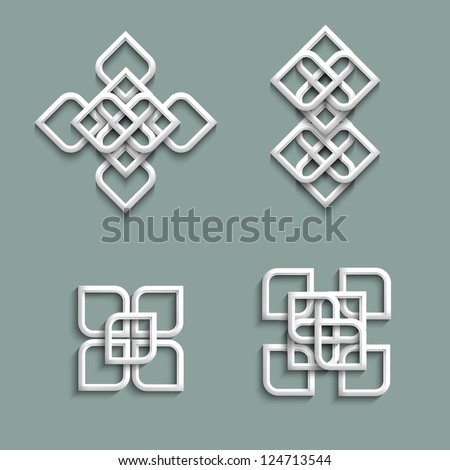 3d ornaments in arabic style. Vector set - stock vector