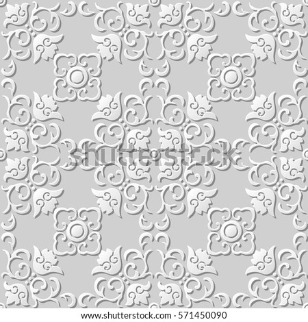 3D paper art pattern spiral curve square cross flower