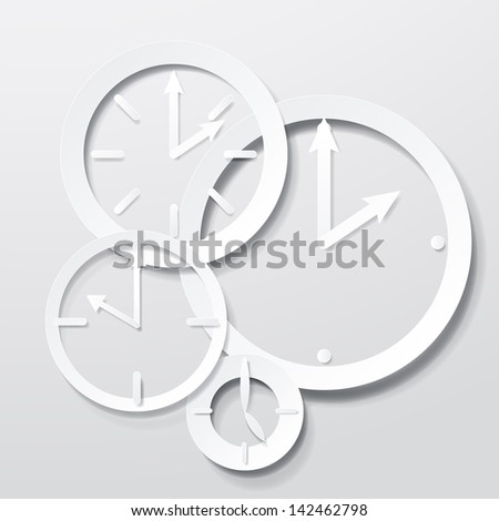 3D Paper Clock Icons Set - Isolated On Gray Background - Vector Illustration, Graphic Design Editable For Your Design. Clock Logo  - stock vector