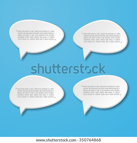 3d paper flat speech bubble icon for text quote. Vector blank template - stock vector
