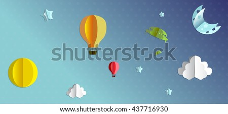 3d paper flying objects - balloons, UFO, clouds, sun, moon and stars - stock vector