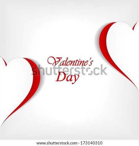 3D Paper heart with space for text, valentine's card. vector illustration with soft shadow on a gray background