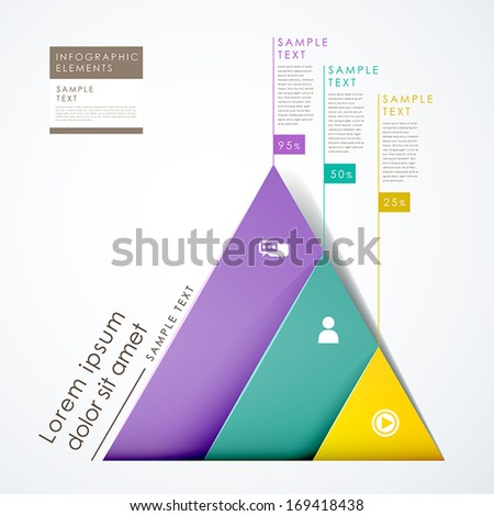 3d paper modern vector abstract pyramid infographic elements - stock vector