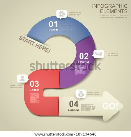 3d paper vector abstract flow chart infographic elements - stock vector