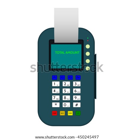 3d Payment machine. Isolated on white background.Top view.Vector colorful illustration.