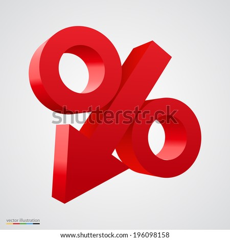 3D percent icon with arrow in the middle. Vector illustration - stock vector