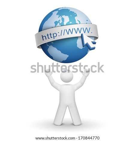 3d person looking up at an internet model isolated white background - stock vector
