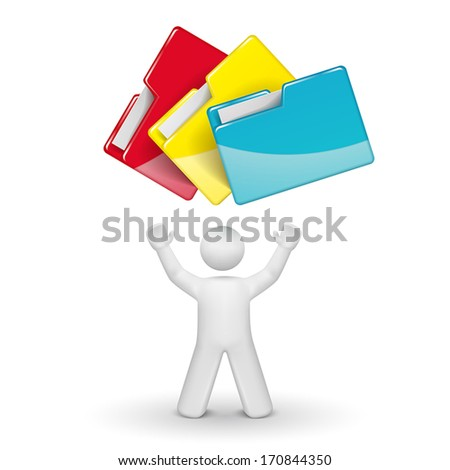 3d person looking up at folders isolated white background
