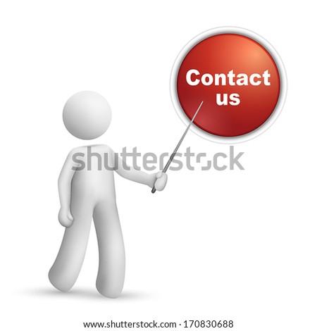 """3d person pointing at a """"contact us"""" button isolated white background - stock vector"""