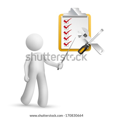 3d person pointing at a screwdriver,a  wrench, a clipping note pad and check list
