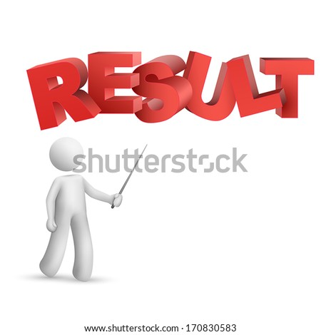 "3d person pointing at a word ""result""  isolated white background"