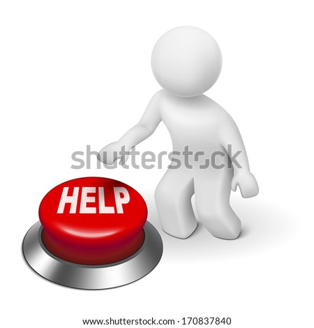 3d person pressing red the button help over white background - stock vector