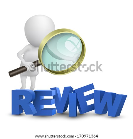 """3d person watching a word """"review"""" with a magnifying glass - stock vector"""