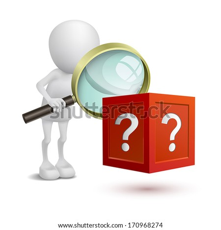 3d person watching the question box with a magnifying glass - stock vector