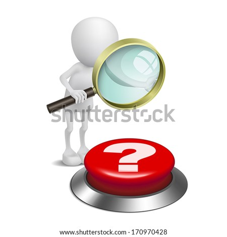 3d person watching the question mark button with a magnifying glass - stock vector
