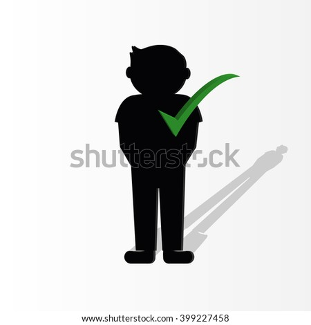 3d  person with a big check mark. 3d image. Isolated white background - stock vector