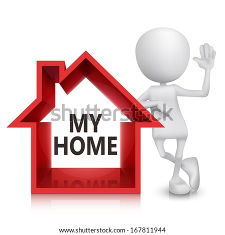 3d person with a house symbol isolated white  background - stock vector