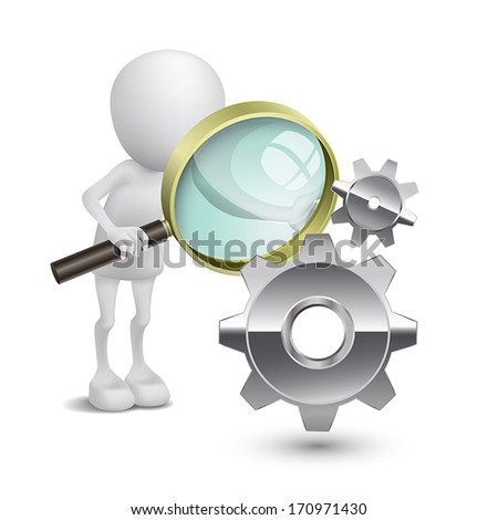 3d person with a magnifying glass to check gears