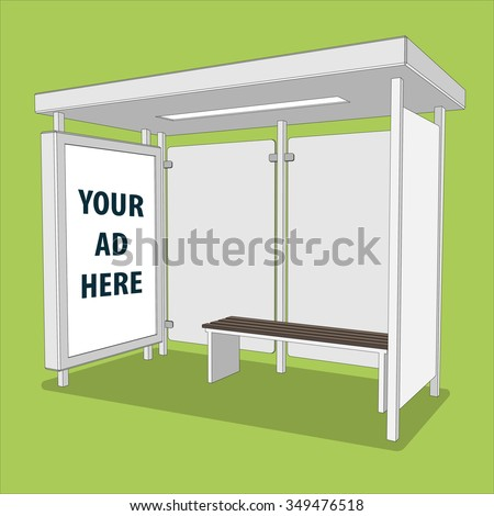 3D perspective bus stop. Isolated bus shelter with lightbox for your Ad. Vector illustration - stock vector