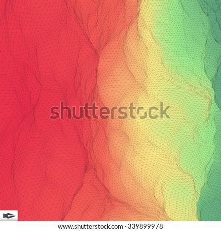 3d Perspective Grid Background Texture. Mosaic. Lattice Effect. - stock vector