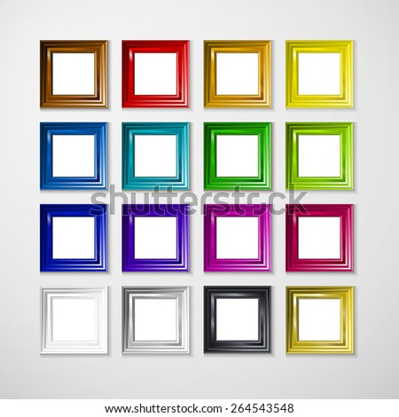 3D picture frame design vector for A4 image or text - stock vector
