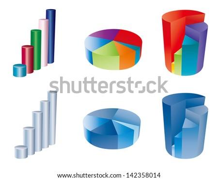 3d pie chart - stock vector