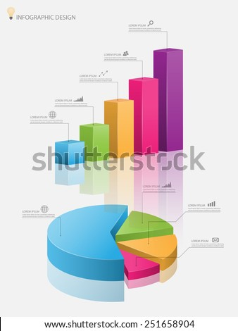 3d pie chart graph,3d graph.Vector illustration - stock vector