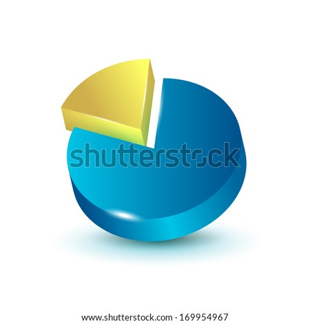3d pie chart graphic for infographics or reports