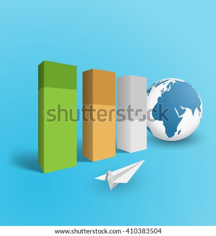 3d pillars shipping world business concept illustration - stock vector