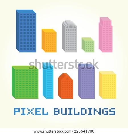 3D pixel art building vector set - stock vector