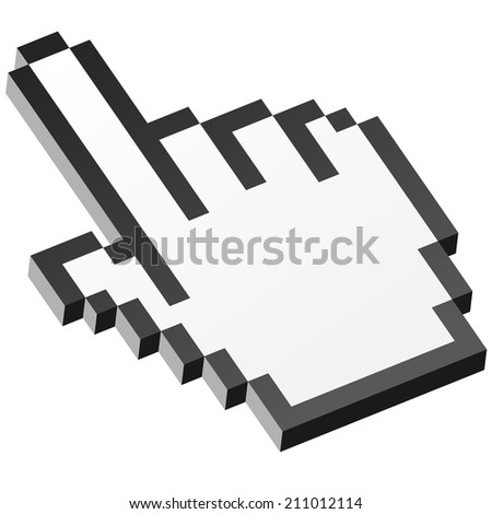 3D Pixel graphic hand - forefinger - stock vector