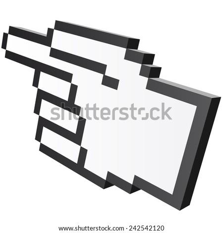 3D Pixel graphic hand - forefinger - stock vector