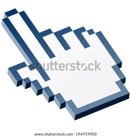 3D Pixel graphic hand - forefinger blue - stock vector