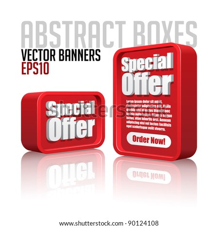 3D Plastic Abstract Banners Set Red - stock vector