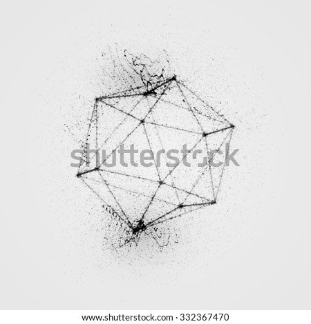 3D platonic shape of particles, wireframe and splashes.  Ink stylized vector illustration. Sacred geometry  - stock vector