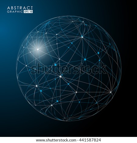 3d points and curves constructed vector Sphere. Global Digital Connections. Futuristic technology style.