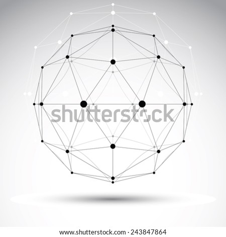 3D polygonal geometric wireframe object, vector abstract design element, clear eps 8. - stock vector