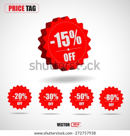 3D price tags discount -15%,-20%,-30%-50%,-80%-vector - stock vector
