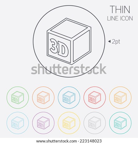 3D Print sign icon. 3d cube Printing symbol. Additive manufacturing. Thin line circle web icons with outline. Vector