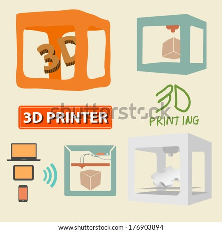 3D printer - stock vector