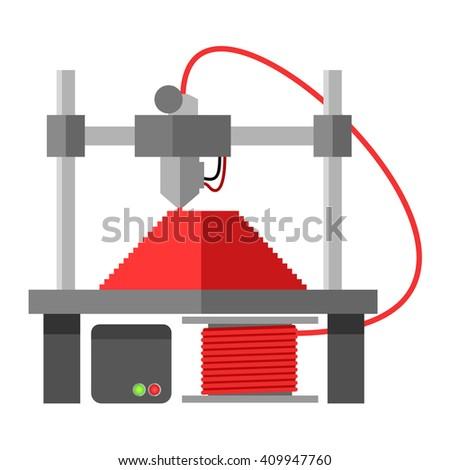 3d printer - stock vector