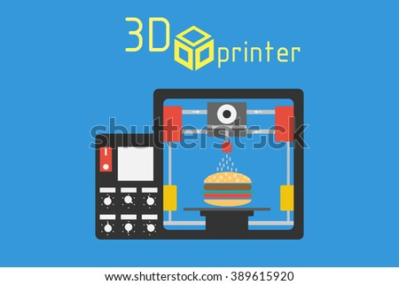 3d printer flat style on colored background  - stock vector