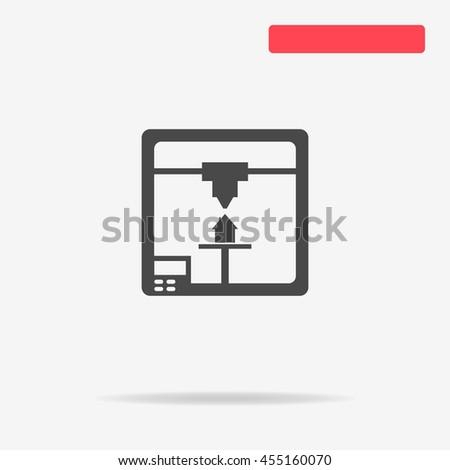 3d printer icon. Vector concept illustration for design. - stock vector