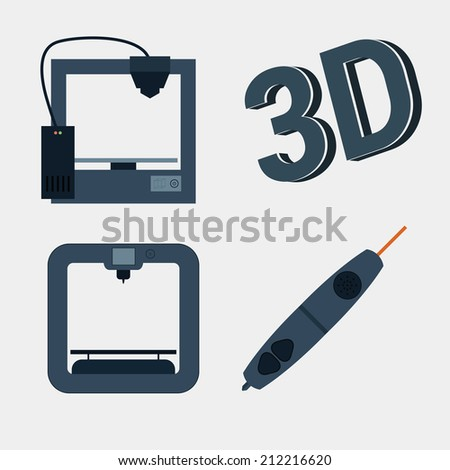 3d printer icon with simple design. Eps10 vector illustration - stock vector