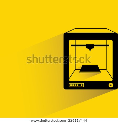3D printer on yellow background, flat and shadow theme,  - stock vector