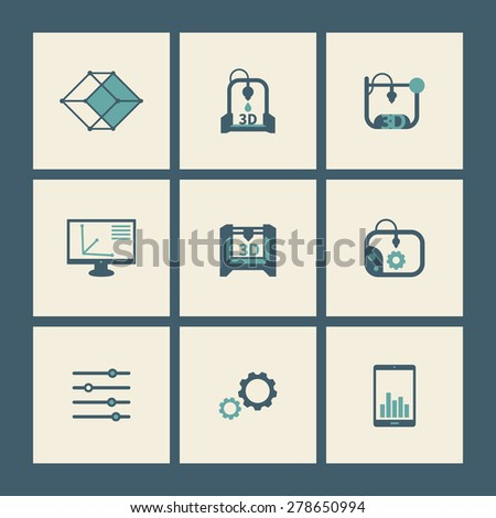 3d printer, printing, modeling, additive manufacturing, flat square icons, vector illustration, eps10, easy to edit - stock vector