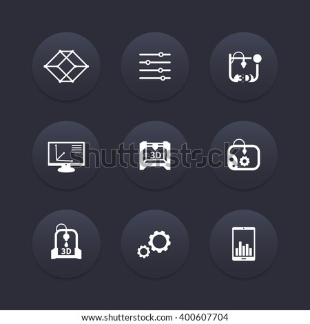 3d printer, printing, modeling, additive manufacturing icons, 3d printing pictograms, vector illustration - stock vector