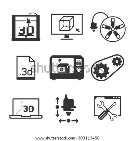 3D printing & Interface UI icons set // Black & White - stock vector